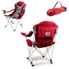 The Reclining Camp Chair is no ordinary camp chair. It features a folding steel frame that can hold up to 300 lbs., padded seat and back rest covered in durable 600D polyester canvas, 3 seating positions, adjustable armrests, an insulated drink holder in the right armrest, a large zippered pocket on back of chair, and a matching storage tote with carrying strap.