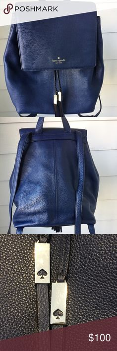 ♠️ kate spade backpack 🎉🎉🎉 New🎉 🎉🎉 kate spade grey street emmanuel backpack in French navy! This beautiful pebbled leather handbag is perfect for the girl on the go handsfree. Features include signature kate spade printed logo , gold plated hardware with cutout spade, drawstring tassels, inside zipper compartment, and two side pockets opposite from zipper compartment. It has been used three times for school, no tags. Please 🚫 Trades and 🚫 PayPal! Happy shopping poshers ☺️ kate spade…
