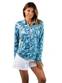 San Soleil Long Sleeved Collared UPF 50 Tech Shirt with Mesh- Flight Aqua Print
