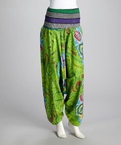 Take a look at this Lime Green Floral Harem Pants by Coline USA on #zulily today!