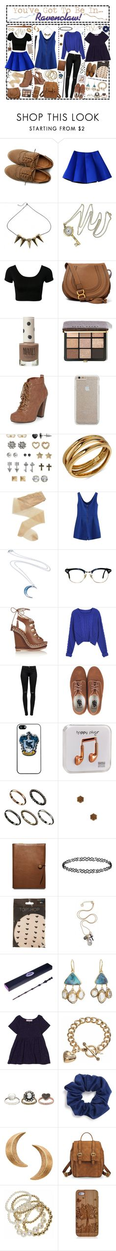 """You've Got To Be In…Ravenclaw!"" by i-get-a-little-bit-breathless ❤ liked on Polyvore featuring Ollio, CO, Chloé, Topshop, Bobbi Brown Cosmetics, Dorothy Perkins, Case-Mate, SO, Robert Lee Morris and Fogal"