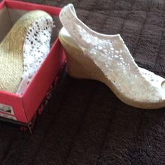 Lace wedge shoes Lace white wedges Qupid Shoes Wedges