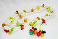 Vintage Fruit Salad Lucite Necklace Choker & Earring Set Pop Art Tutti Frutti 50 #Unbranded #necklaceEarringsBeaded