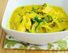 Paleo Basil Chicken Thai Noodle!  1.5 lb chicken 3 zucchini 1 can light coconut milk  1 1/2 tsp ginger 2 tsp turmeric 2 1/2 tsp sea salt 2 tsp garlic  1/3 cup fresh chopped basil   1/2 tsp cayenne pepper 3 tbsp coconut palm sugar 1 tbsp apple cider vinegar