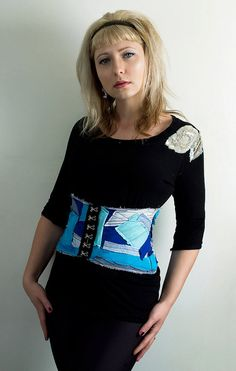 Blue Patchwork Corset Belt Handmade Vintage by PopLoveCouture, $50.00