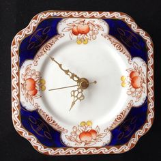Square Blue Orange china tea plate wall clock by LaviniasTeaParty, £25.00