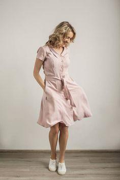 Dusty rose dress button down dress elegant casual dress