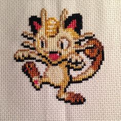 Pokémon cross stitch project - Meowth #pokemon #meowth #crossstitch
