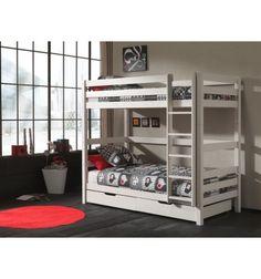 Magnifique lit superposé blanc avec son tiroir-lit! Accueillir 3 personnes dans une même pièce? Oui, c'est possible! Dimension: B/L 209,4 cm - H/H 182 cm - ...