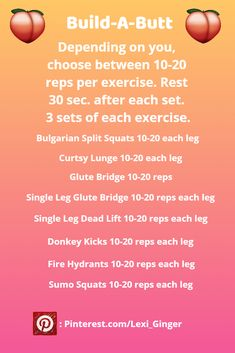 I have combined these exercises to give you the only booty building workout you need! All these exercises will grow and shape your glutes. Go from a flat butt to a phat butt in no time! Follow me for more pins like this!