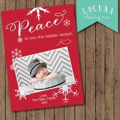 Christmas Card, Photo Christmas Card, Snowflake Christmas Card, Holiday Card, DIY Printable Christmas Card