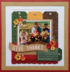 Fall Layout - Scrapbook.com - Embossed cardstock gives this layout lots of fantastic texture.