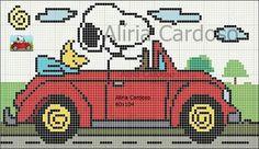 Snoopy e Wood in auto Cute Cross Stitch, Cross Stitch Charts, Cross Stitch Designs, Cross Stitch Patterns, Cross Stitching, Cross Stitch Embroidery, Embroidery Patterns, Plastic Bead Crafts, Baby Blanket Crochet