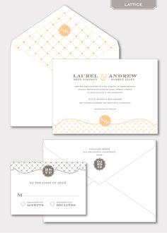 Love these invitations - Lattice Pattern Letterpress Wedding Invitation | Little Miss Press