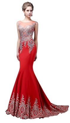 Factoryoffers Mermaid Evening Dresses Appliques Lace Crystals Long Gowns