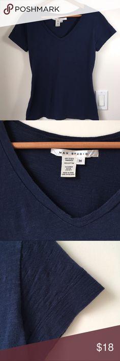 Max Studio Navy Blue V neck T shirt short sleeved Max Studio Navy Blue Deep V neck Tee shirt short sleeves with finished hem. 100% soft cotton Gorgeous Dark Navy Blue. Max Studio Tops Tees - Short Sleeve