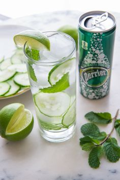 This drink is cool as a cucumber. Whip up a Perrier cocktail that's super hydrating to counteract the dry winter weather. Try our Cucumber Mint Gin Cooler. It's refreshingly simple. Ingredients: English cucumber, fresh mint sprigs, fresh lime, Perrier® Original Sparkling Natural Mineral Water, 2 oz. gin, 1/2 oz. simple syrup, served in highball over ice. Click through to get the full directions on the blog and more of our mixology masterpieces.