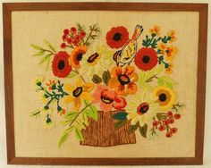 Needlework Mid Century Modern Flower Still Life Bird Orange Vintage Ornithology #Handmade