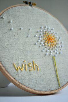 Hey, I found this really awesome Etsy listing at https://www.etsy.com/listing/106696274/embroidery-hoop-art-wish-in-yellow