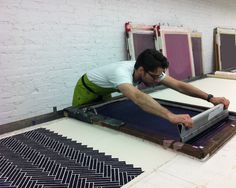ryan parker for chairloom.com scaled marks on table under fabric for screen placement/registration. t bar?