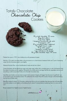 Totally Chocolate Chocolate Chip Cookies. Recipe by Nigella Lawson Double Chocolate Chip Cookies, Dark Chocolate Chips, Melting Chocolate, Chocolate Chocolate, Brownie Recipes, Cookie Recipes, Milk Cookies, Food Test, Tray Bakes