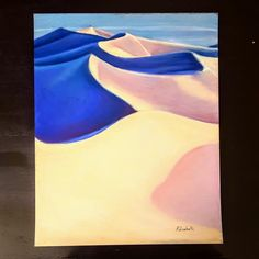 Desert landscape drawing abstract scenery blue and sand image 0