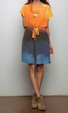 Ermie Drawstring Dress - Light of California Print