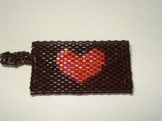 Bead Mini Clutch Pendant - Brown with Heart by BreitWerk for $30.00