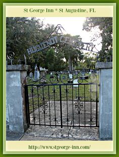 Be sure to go on a Ghost Tour while staying in St Augustine. The cemetery is reputed to be haunted by a variety of ghosts One of the alleged ghosts is that of a specter named Elizabeth. According to the various themes of her origin, she has been described as the daughter of a Spanish era guard at the City Gate who would often visit him and greet people entering the city or she is the ghost of a thirteen or fourteen-year-old girl who died in the 1821 yellow fever epidemic either at the City…