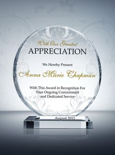 Circle Appreciation Plaque. We use only the finest, 100 percent ...