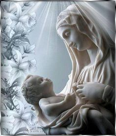 Mother Mary and Jesus Blessed Mother Mary, Divine Mother, Blessed Virgin Mary, Religious Images, Religious Art, Santa Maria, Images Of Mary, Queen Of Heaven, Mama Mary