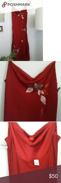 Laundry Shelli Segal Red Spaghetti Strap Dress NWT New with tags, from Nordstrom. Silk lined with sheer overlay. Butterfly and leaf appliqu? details. Laundry by Shelli Segal Dresses