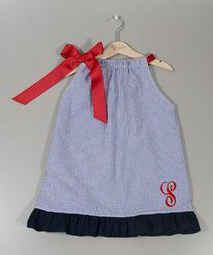 Look at this #zulilyfind! Blue Gingham Initial Dress - Infant, Toddler & Girls by Princess Linens #zulilyfinds