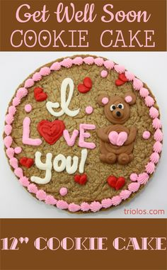 Tell that special someone you love them with this romantically decorated Cookie Cake. We took our classic Chocolate Chip Cookie and made it bigger, better, and cake-ier. This 12″ Cookie Cake makes for a delicious and gourmet gift.