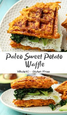 Paleo Sweet Potato Waffle Sandwich Whole Gluten Free - Paleo Sweet Potato Waffle Sandwich Whole Gluten Free This Waffle Sandwich Is Just So Good For Quick Simple Breakfast Or Dinner Five Simple Ingredients Combined For One Epic Paleo Sandwi Sweet Potato Waffles, Paleo Sweet Potato, Sweet Potato Recipes, Sweet Potato Hash, Eggs And Sweet Potato, Sweet Potato Breakfast, Recetas Whole30, Whole 30 Breakfast, Healthy Breakfasts
