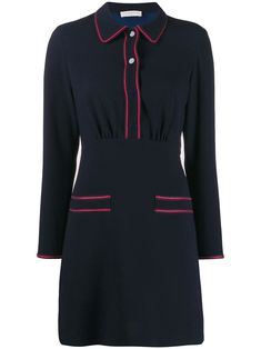 Navy blue two tone shirt dress from sandro paris featuring a front button placket, long sleeves, two front pockets, a short length and contrast seam detailing. Varsity Jacket Outfit, Sandro Paris, Front Knot Dress, Embellished Skirt, Paisley Print Dress, Striped Midi Dress, Navy Blue Dresses, Designers, Women Wear