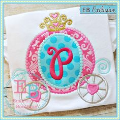 Dotted Princess Carriage Applique   Embroidery Boutique  Shown with Happy Day Alphabet