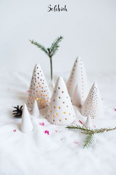 DIY Clay Candle Lantern Tutorial from Atilio. These DIY Candle Lanterns are made from air dry clay and lit by LED tea lights. (via diychristmascrafts) Cone Christmas Trees, Christmas Clay, Ceramic Christmas Trees, Homemade Christmas, Christmas Ornaments, Cone Trees, Christmas Lights, Holiday Tree, Christmas Crafts