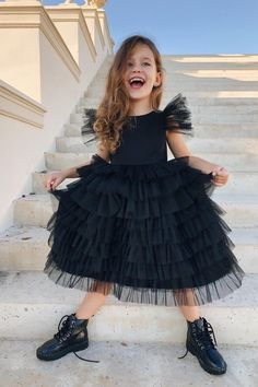 Girls Tulle Black Dress with Open Back, Black Flower Girl Dress, Girls Birthday Tulle Dress, Black Toddler Formal Dress, Tutu Baby Dress Toddler Formal Dresses, Toddler Girl Dresses, Little Girl Dresses, Girls Dresses, Black Tulle Dress, All Black Dresses, Girls Black Dress, White Flower Girl Dresses, Tutu Outfits