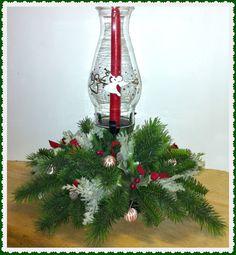 Vintage Christmas Candle Centerpiece w Hurricane by GrammysGoodys, $18.95