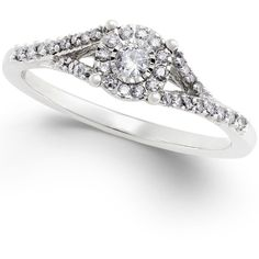 Diamond Promise Ring in Sterling Silver ( 1/4 ct. t.w.) ($270) ❤ liked on Polyvore featuring jewelry, rings, silver, diamond jewellery, round cut diamond rings, round diamond ring, diamond jewelry and sterling silver diamond rings