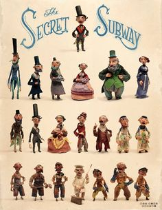 """Characters from the  book """"The Secret Subway """" pub. by Schwartz&Wade, 2016. Written by Shana Corey,  Artwork by Red Nose Studio"""