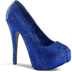 Royal Blue Rhinestone Stiletto High Heels - Polyvore