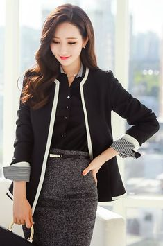 awesome StyleOnme_Contrast Color Trim Collarless Jacket #blackandwhite #chic #simple…...