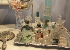 Vintage perfume bottles for a retro vanity