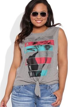 Deb Shops Plus Size  Tie Front Tank Top with Colorblock Marilyn Monroe Screen $17.25