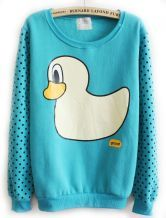 Lake Blue Dot Print Long Sleeve Duck Sweatshirt US$25.25