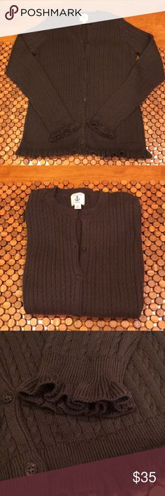 Lands' End Cotton Cardigan NWOT size L 14 girls This is great for girls size 14 (large) or women's size small. Gorgeous, chocolate brown color. NWOT, not worn. Made by Lands' End. All cotton, gorgeous fringe detail along sleeves and waist. Great for the holidays with a tartan shirt! Lands' End Shirts & Tops Sweaters