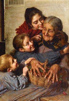 """Se il tuo bambino è """"bello e perfetto, non piange e non si agita mai, dorme nei tempi previsti e fa rutti a richiesta, è un angelo tutto il tempo,"""" allora sei una nonna. (Teresa Bloomingdale)  Opera di Gaetano Bellei (1857 - 1922)"""