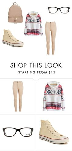 """soy cute"" by maryjsullivan ❤ liked on Polyvore featuring Ray-Ban, Converse and MICHAEL Michael Kors"